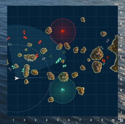 In the bottom right corner of the screen you will find a minimap - Battle - Game interface - World of Warships - Game Guide and Walkthrough