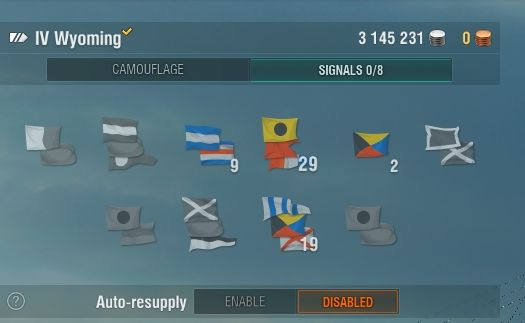If you have large amounts of flags, you should activate the auto-resupply option. - Signal flags - Game mechanics - World of Warships - Game Guide and Walkthrough