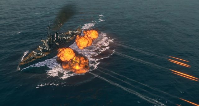 Battleships have impressive firepower which can destroy enemy ships even with a single salvo. - Battleships - Warship types - World of Warships - Game Guide and Walkthrough