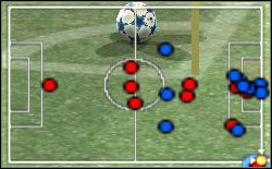 On time of executing of the corner kick the shift to the attack of four reds players is occurring - Nuances of the control - World Soccer Winning Eleven 9 - Game Guide and Walkthrough