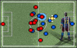 Theoretical advantage reds in the middle of the field isnt giving the certainty for lack of the place to blues for playing the ball - Nuances of the control - World Soccer Winning Eleven 9 - Game Guide and Walkthrough