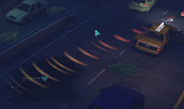 The alien moved around an abandoned car - we do not see him, but we hear him very well - Detecting the opponent - Turn-based combat system - XCOM: Enemy Unknown - Game Guide and Walkthrough