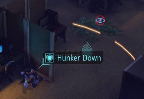 Soldier performing a Hunker Down maneuver, which doubles the effectiveness of a nearby cover and grants immunity to critical hits - Shooting the right way - Turn-based combat system - XCOM: Enemy Unknown - Game Guide and Walkthrough