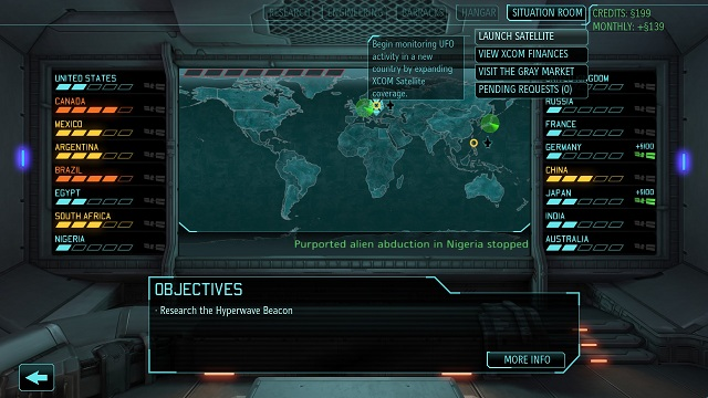 General view of the Situation Room - Satellites and funds - XCOM Base - XCOM: Enemy Unknown - Game Guide and Walkthrough