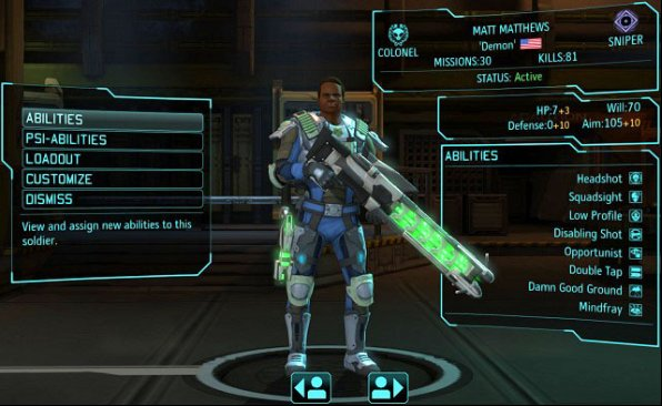Sniper and his stats and skills. The Commando is one of the few veterans. - Barracks - XCOM Base - XCOM: Enemy Unknown - Game Guide and Walkthrough