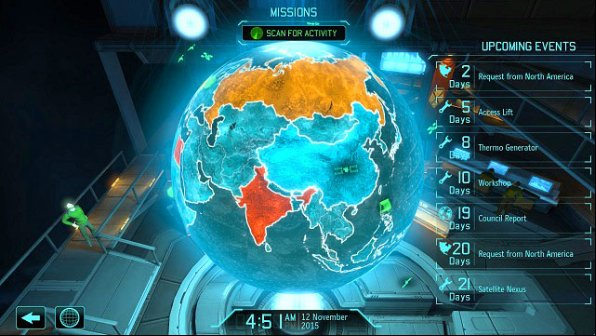 The more red, the worse. Fortunately, you can reduce panic by launching satellites. - Mission Control - Introduction - XCOM Base - XCOM: Enemy Unknown - Game Guide and Walkthrough