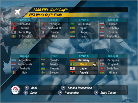 Finally, we can go to the World Cup Mode main menu - Groups - World Cup Mode - 2006 FIFA World Cup Germany - Game Guide and Walkthrough