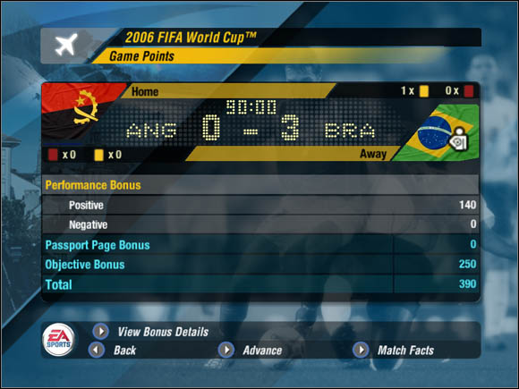 The game gives and takes points for each meeting on the pitch - Points - World Cup Mode - 2006 FIFA World Cup Germany - Game Guide and Walkthrough
