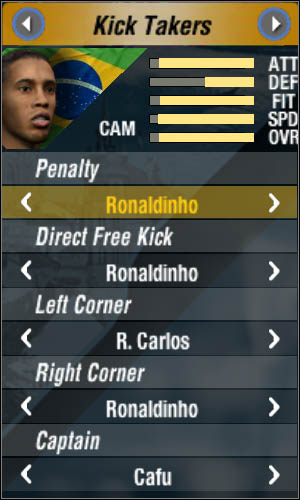 Let's start from the top: in fact, everyone can perform penalties, but it won't be bad if you choose someone who has high accuracy - Kick takers - World Cup Mode - 2006 FIFA World Cup Germany - Game Guide and Walkthrough