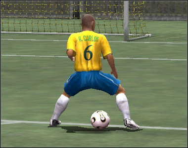 If you press [Z] in the same situation as presented above, the footballer will let the ball roll next to him - Passes - Movement - 2006 FIFA World Cup Germany - Game Guide and Walkthrough