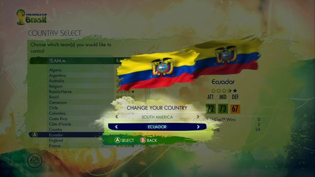 You begin game from choosing one of available teams - 2014 FIFA World Cup - Game Modes - 2014 FIFA World Cup Brazil - Game Guide and Walkthrough