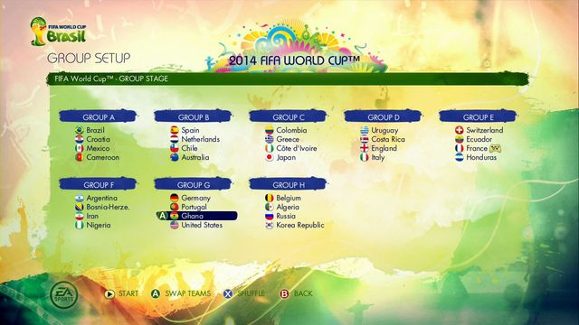 where you can see the final tournament groups - 2014 FIFA World Cup - Game Modes - 2014 FIFA World Cup Brazil - Game Guide and Walkthrough