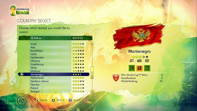 You begin from choosing the continent of your qualifiers - Road to the FIFA World Cup - Game Modes - 2014 FIFA World Cup Brazil - Game Guide and Walkthrough