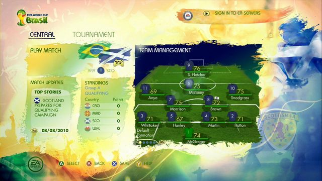 After confirming all options, game moves you to the panel where you can call players, look at the fixture or make changes of tactics and squad - Road to the FIFA World Cup - Game Modes - 2014 FIFA World Cup Brazil - Game Guide and Walkthrough