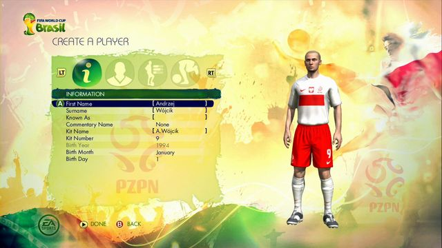 Another screen let you choose the type of the player - Captain Your Country - Game Modes - 2014 FIFA World Cup Brazil - Game Guide and Walkthrough