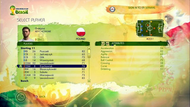Option Use an existing player gives you a possibility of taking control over the already existing player from the particular representation - Captain Your Country - Game Modes - 2014 FIFA World Cup Brazil - Game Guide and Walkthrough