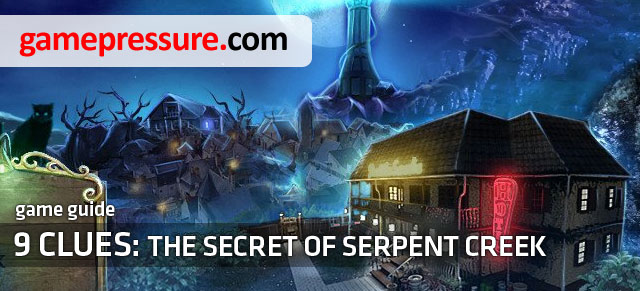 This guide contains detailed walkthrough of the Nine Clues - 9 Clues: The Secret of Serpent Creek - Game Guide and Walkthrough