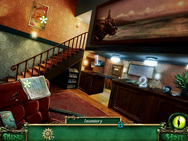 On the newspaper on left, you find first of question marks and on the armchair a newspaper which you can read - Hotel - Main storyline - 9 Clues: The Secret of Serpent Creek - Game Guide and Walkthrough