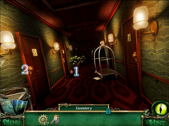 Approach the door to the room number 6 and pick up a Gear [1] - Hotel - Main storyline - 9 Clues: The Secret of Serpent Creek - Game Guide and Walkthrough