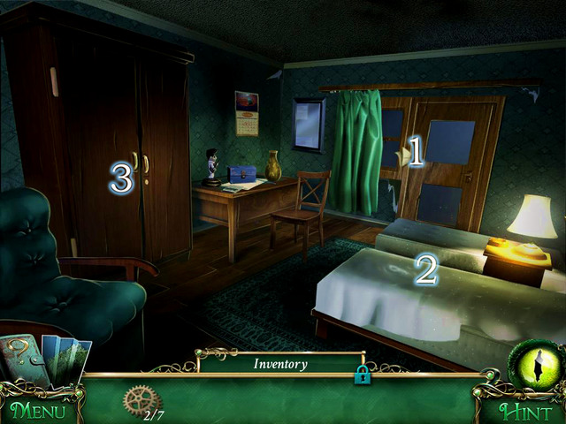 Inside, you see someone behind a window, who leaves you a message [1] - Hotel - Main storyline - 9 Clues: The Secret of Serpent Creek - Game Guide and Walkthrough