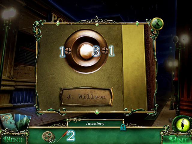 Approach the door and use Screws on the doorbell [1] - Police precinct - Main storyline - 9 Clues: The Secret of Serpent Creek - Game Guide and Walkthrough