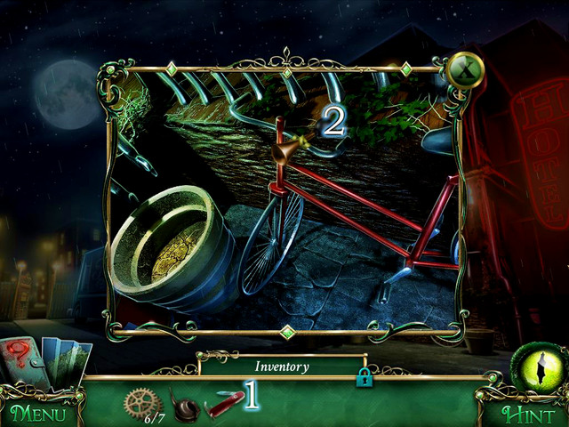 Approach the bike and use Pocket Knife [1] on Bike Horn [2], what gives you the latter mentioned item - Return to the hotel - Main storyline - 9 Clues: The Secret of Serpent Creek - Game Guide and Walkthrough