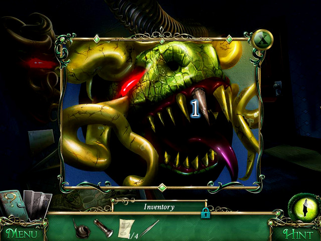 Firstly, approach the dragon head and take a Heavy fang [1] - Museum - Main storyline - 9 Clues: The Secret of Serpent Creek - Game Guide and Walkthrough