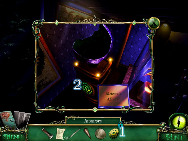 Use Gear [1] on cupboard [2] and then take Gold Lockpicks and code part from the drawer - Museum - Main storyline - 9 Clues: The Secret of Serpent Creek - Game Guide and Walkthrough