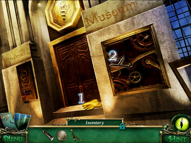 Approach the window and use Ritual sickle onto a ladder - Museum - Main storyline - 9 Clues: The Secret of Serpent Creek - Game Guide and Walkthrough