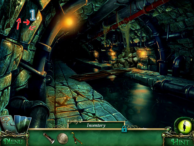 Following the hints in the left corner [1], go through the sewers until you get to the place blocked by the steam coming out from the pipes - Sewers - Main storyline - 9 Clues: The Secret of Serpent Creek - Game Guide and Walkthrough