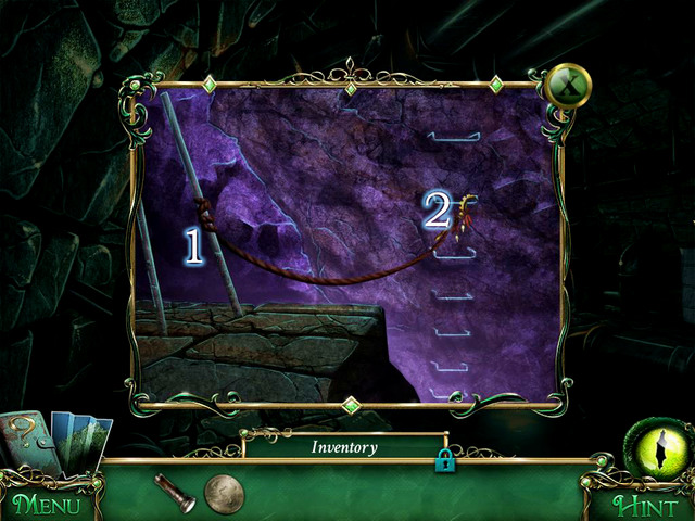Tie Rope in the shown place [1], and then mount a Ritual Sickle on it - Sewers - Main storyline - 9 Clues: The Secret of Serpent Creek - Game Guide and Walkthrough