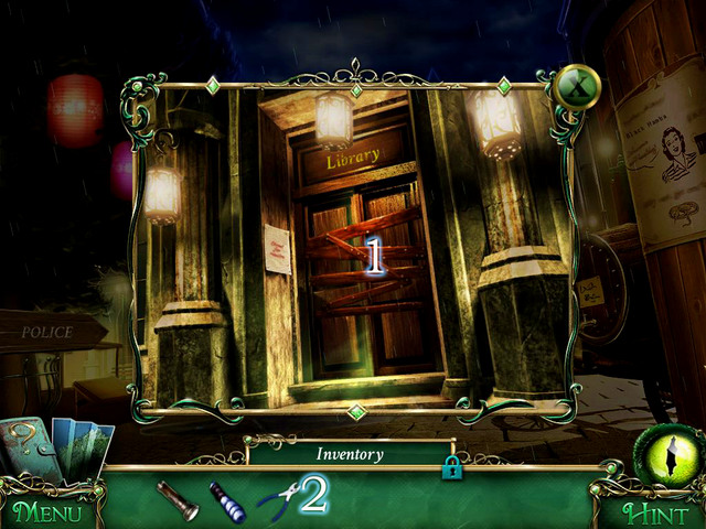 Destroy the barricade [1] using Pliers [2] when you approach a library door - Library - Main storyline - 9 Clues: The Secret of Serpent Creek - Game Guide and Walkthrough