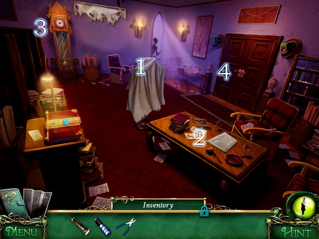 Take material off [1], collect a newspaper from the table [2] and approach the clock [3] - Library - Main storyline - 9 Clues: The Secret of Serpent Creek - Game Guide and Walkthrough