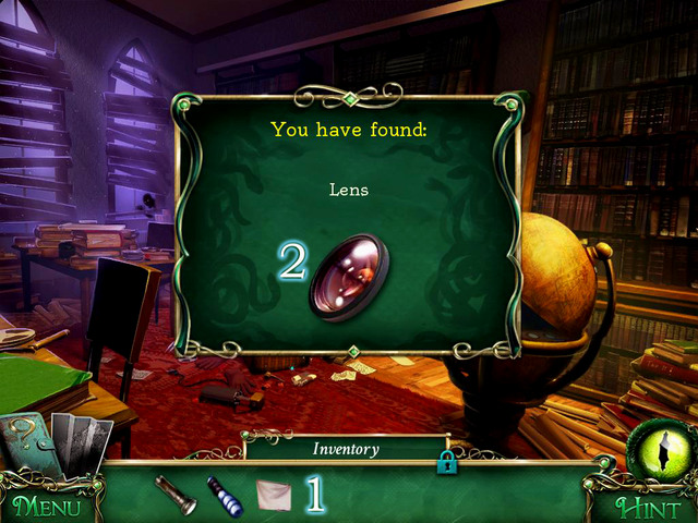 Take a Screen out of the globe[1] and after a scene with hidden object, you get also Lens [2] - Library - Main storyline - 9 Clues: The Secret of Serpent Creek - Game Guide and Walkthrough