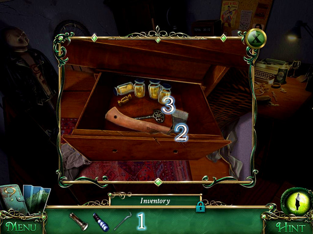 When you open a drawer using Crowbar [1], you obtain an Axe [2] and a Cemetery Key [3] - Library - Main storyline - 9 Clues: The Secret of Serpent Creek - Game Guide and Walkthrough