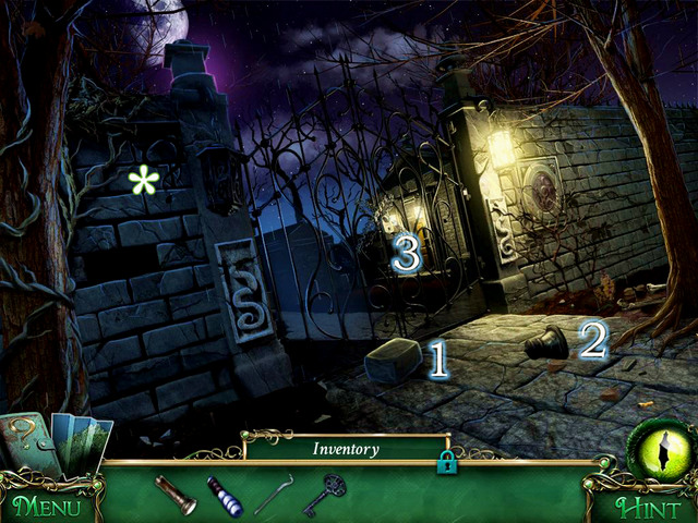 In front of the Cemetery gate you find an Urn [1] and a Brick [2] - Cemetery - Main storyline - 9 Clues: The Secret of Serpent Creek - Game Guide and Walkthrough