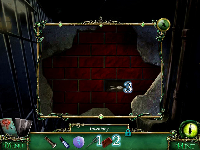 Using Lockpicks [1] take off a Brick [2] and Safe keys [3] - Prison - Main storyline - 9 Clues: The Secret of Serpent Creek - Game Guide and Walkthrough