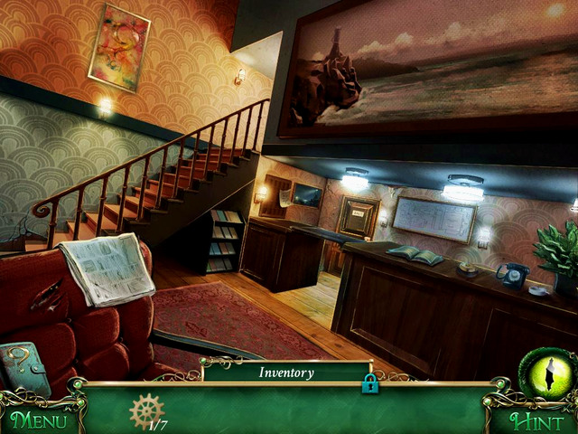 Reception: painting next to the stairs - Clues - Collectibles and puzzles - 9 Clues: The Secret of Serpent Creek - Game Guide and Walkthrough