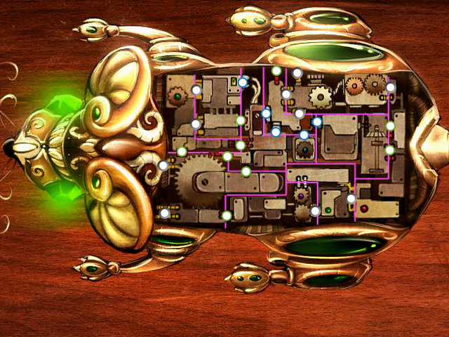 To make the task easier, you have to look at the cables connecting the mechanism parts - Puzzles - Collectibles and puzzles - 9 Clues: The Secret of Serpent Creek - Game Guide and Walkthrough