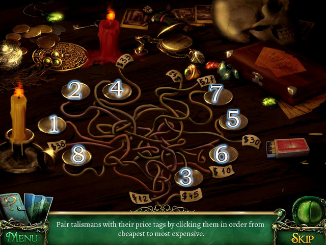 Before you begin this puzzle, you have to open matchbox and then light nearby candles - Puzzles - Collectibles and puzzles - 9 Clues: The Secret of Serpent Creek - Game Guide and Walkthrough