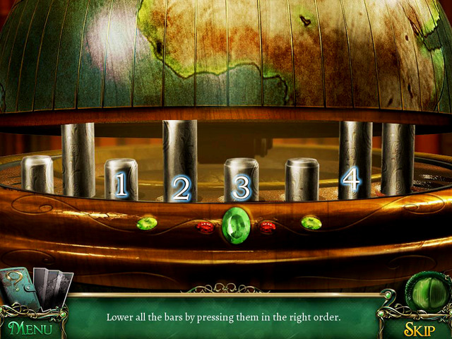 The proper order: rods nr 3 [1], nr 4 [2], nr 5 [3] and nr 7 [4] - Puzzles - Collectibles and puzzles - 9 Clues: The Secret of Serpent Creek - Game Guide and Walkthrough