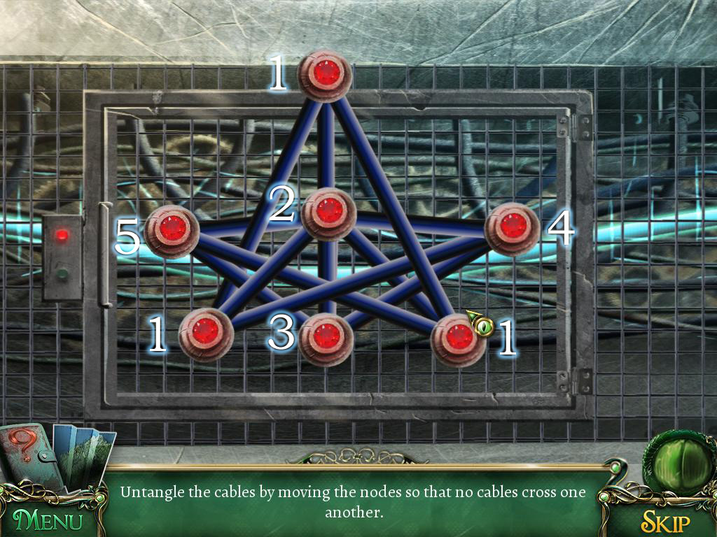 For cables not to get cut, you have to place red points in the particular way - Puzzles - Collectibles and puzzles - 9 Clues: The Secret of Serpent Creek - Game Guide and Walkthrough