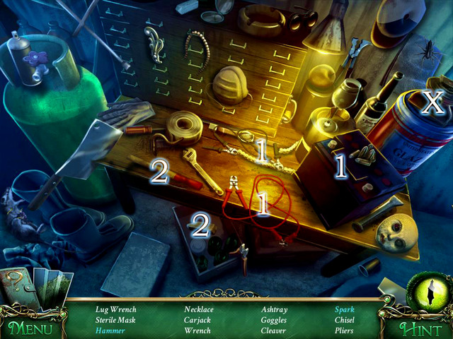 Crucial item [X] - Carjack - Hidden-object scenes - Collectibles and puzzles - 9 Clues: The Secret of Serpent Creek - Game Guide and Walkthrough